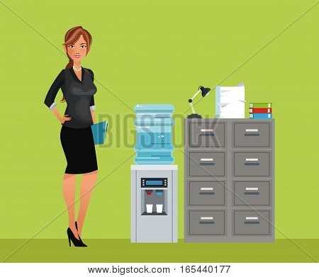 woman breaktime office cooler water cabinet file vector illustration eps 10
