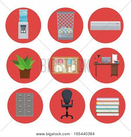 set equipment office elements icon circle vector illustration