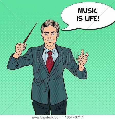 Pop Art Music Conductor Man with a Baton. Vector illustration