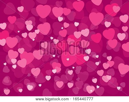 Rectangle vector background pink and crimson hearts to the day of St. Valentine
