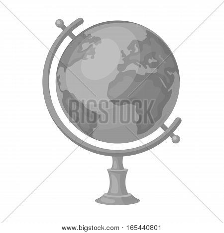 Globe icon in monochrome design isolated on white background. Rest and travel symbol stock vector illustration.