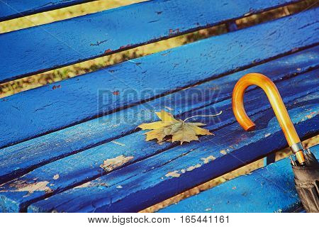 Umbrella on blue park bench taken closeup.