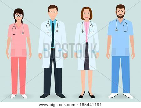 Hospital staff concept. Group of man and woman doctors nurse medical orderly. Flat style vector illustration.