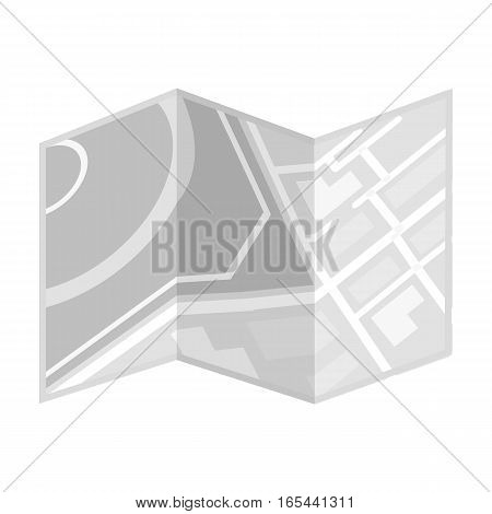 Travel map icon in monochrome design isolated on white background. Rest and travel symbol stock vector illustration.