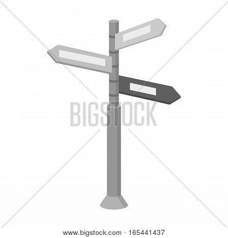 Crossroad sign icon in monochrome design isolated on white background. Rest and travel symbol stock vector illustration.