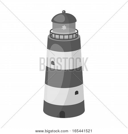 Lighthouse icon in monochrome design isolated on white background. Rest and travel symbol stock vector illustration.