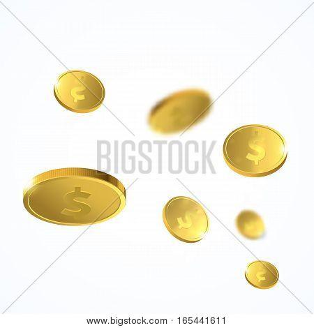 Vector Illustration of flying golden coins. Money illustration isolated on white background.
