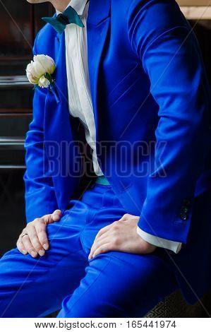 Groom style before wedding ceremony. Big wedding day