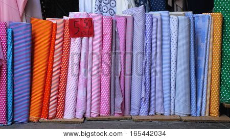 Colourful Fabric Textile Rolls in Material Shop