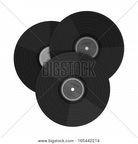 Vinyl records icon in monochrome design isolated on white background. Hipster style symbol stock vector illustration.
