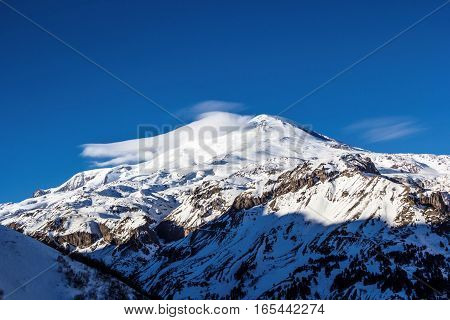 snow tops of Mount Elbrus, mountain landscape, winter, nature of the North Caucasus