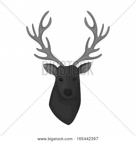 Deer head icon in monochrome design isolated on white background. Hipster style symbol stock vector illustration.