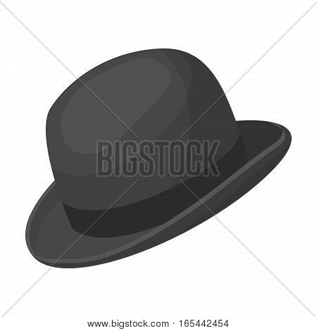 Bowler hat icon in monochrome design isolated on white background. Hipster style symbol stock vector illustration.