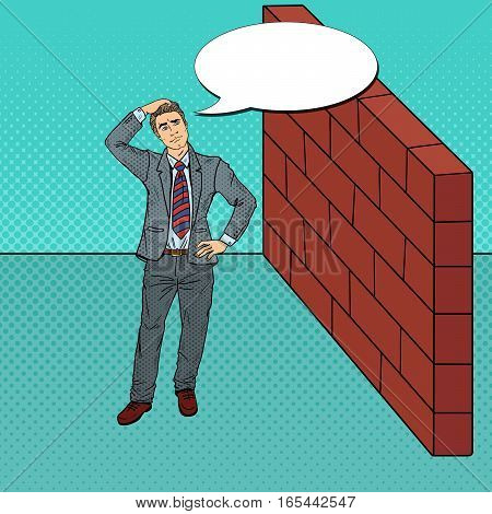 Pop Art Doubtful Businessman Standing in Front of a Brick Wall. Vector illustration