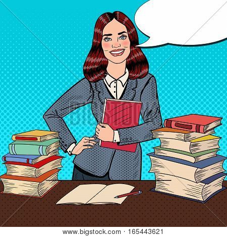 Pop Art Young Happy Woman with Book Standing in Front of Library Table. Vector illustration