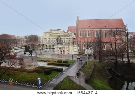 Wroclaw, Poland - December 14, 2016: Evening Wroclaw. Square with a monument of Boleslaw I the Brave in Wroclaw