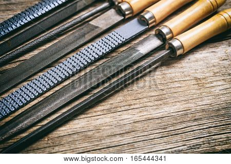 Old Hand Tools On Wooden Background