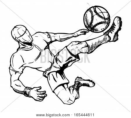 Football. Soccer player kicking ball. vector illustration.
