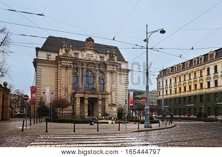 Wroclaw, Poland - December 14, 2016: Evening Wroclaw. Traffic on the Wroclaw street. View of the puppet theater