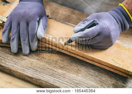 Carpenter Measuring With A Wooden Meter
