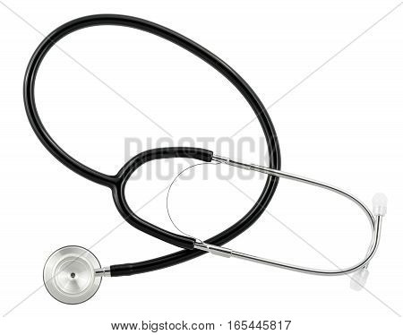 High resolution medical stethoscope isolated against white background with path