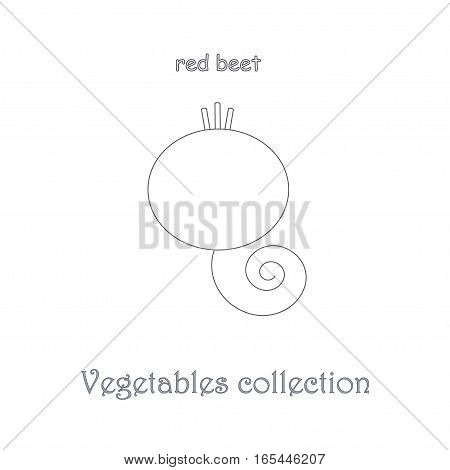 Line red beet icon, vegetables icon collection stock vector illustration