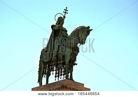 The monument of the hungarian king Stephen I also known as a Saint Stephen (Istvan) in Budapest