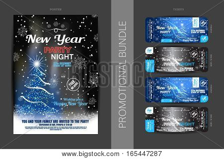 Vector New Year night party promotional bundle of poster and tickets on the dark gray and blue gradient background with Christmas tree snowflakes and snowfall.