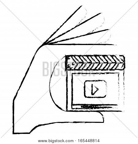 clapboard movie or video related icon image sketch line vector illustration design