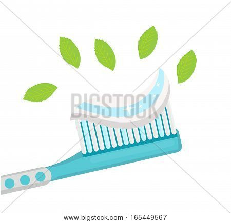 Toothbrush with mint paste. Isolated on white background. Vector illustration