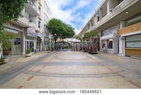 LEDRAS NICOSIA CYPRUS, NOVEMBER 28 2015: sidewalk with shops at Ledras street Nicosia Cyprus. Editorial use.