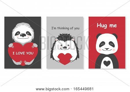 Greeting cards set - cute animals. Vector hand drawn template for Valentine s day party, scrapbooking etc. EPS8 illustration.