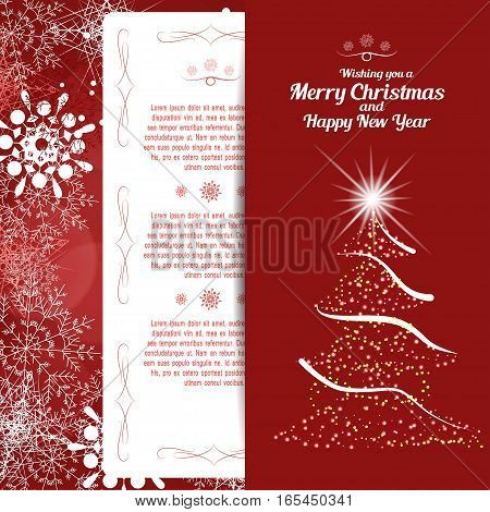 Vector greetings envelope with christmas tree and insert for Merry Christmas and Happy New Year on the abstract red background with radiance and snowflakes.