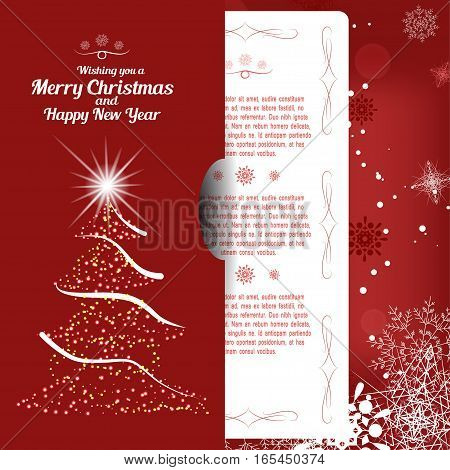 Vector illustration of greetings envelope with christmas tree and insert for Merry Christmas and Happy New Year on the abstract red background with radiance and snowflakes.