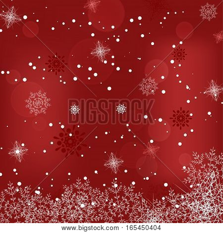 Vector holiday abstract red background with snowfall radiance and snowflakes.