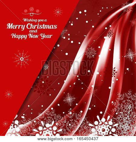 Vector illustration of empty greetings envelope for Merry Christmas and Happy New Year on the abstract red background with snowfall waves snowflakes and pocket for insert.