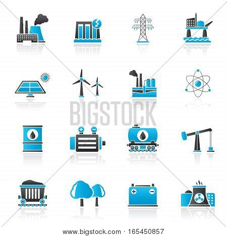 Energy producing industry and resources icons - vector icon set