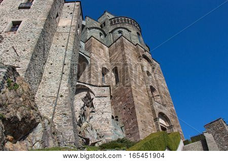 Italy Piedmont - April 5 2015: view of the front fragment of Saint Michael's Abbey in Val di Susa on April 05 2015 in Piedmont Italy.