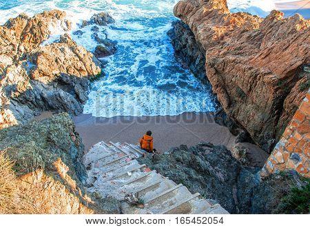 Spain. Catalonia. Costa Brava. Beach Sa Riera. Beautiful views of the Mediterranean coast. Tourist places. The picturesque promenade along the sea.