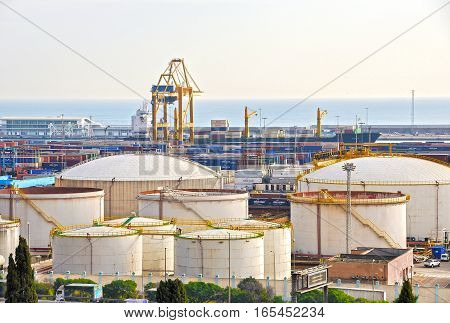 Oil tanks at the port in Barcelona. Gas and fuel tanks
