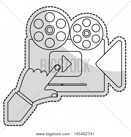 film projector movie or video related icon image vector illustration design