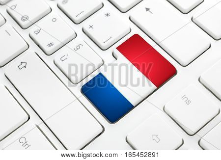 Dutch language or Netherlands or web concept. National flag enter button or key on white keyboard