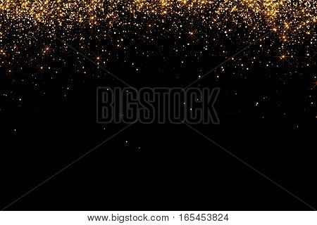 Waterfalls Of Golden Glitter Sparkle Bubbles Champagne Particles Stars On Black Background,happy New