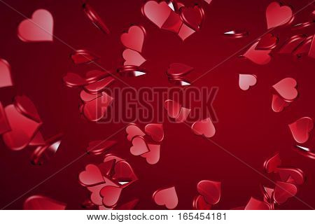Falling Valentine Day Red Hearts Shape With Explosion On Red Gradient Background, Holiday Festive Va