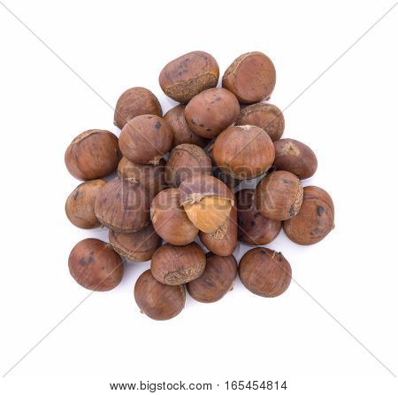 roasted chestnuts isolated on white background .