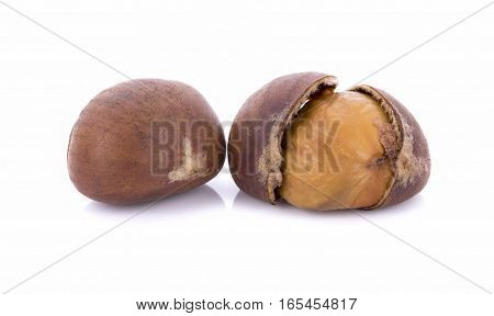 roasted chestnuts isolated on white background  ..