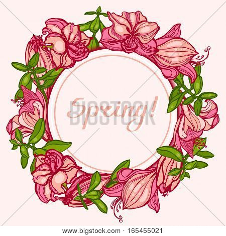 Spring! Round frame with flowers Amaryllis, Hippeastrum and succulents Crassula. Congratulations, invitation card. Hand drawn. Vector illustration.