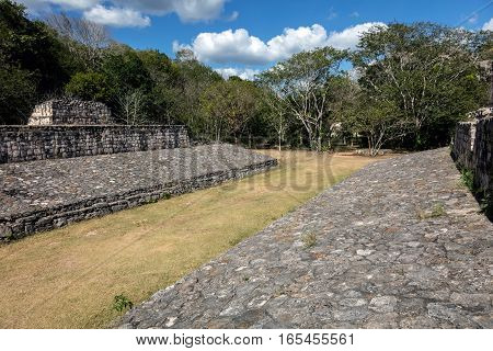 Ball court of Ek Balam a late classic Yucatec-Maya archaeological site located in Temozon Yucatan Mexico.