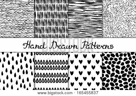 Set of 8 seamless texture. Wave strip prints drops heart spots. Abstract forms drawn a wide pen and ink. Backgrounds in black and white. Hand drawn. Vector illustration.