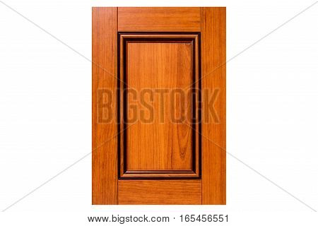 Traditional luxury red cherry kitchen door with decorative brown glaze color finish. Door made of durable maple wood with five raised panels. Isolated on white background - closeup